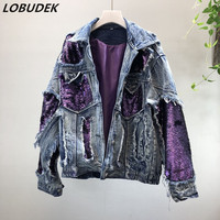 Korean Style Winter Women Denim Coat Purple Blacke Sequins Jean Jacket Tide Female Loose Outerwear Thick Warm Cotton padded Coat
