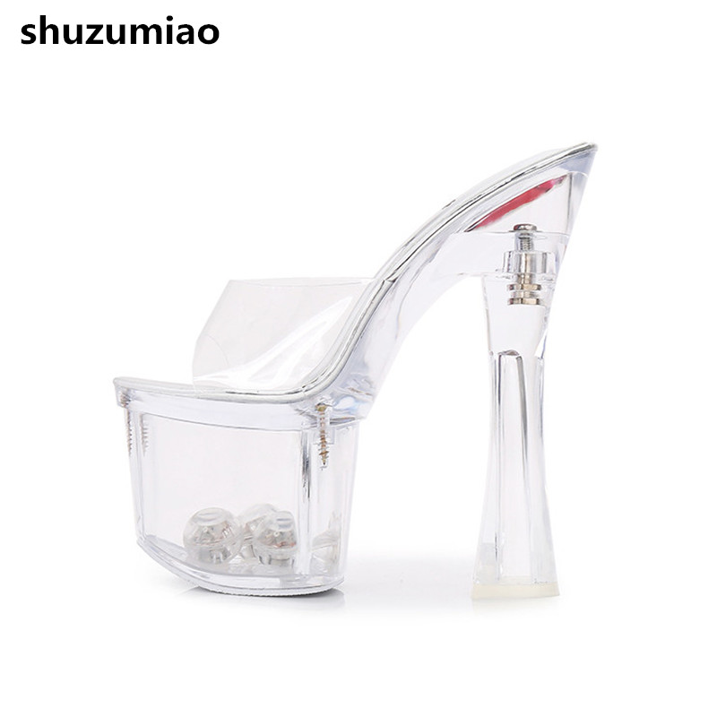 Sexy Extreme High Heels Women Sandals Transparent Summer Shoes Woman Pumps Platform Sandals Women Slippers Female Shoes 2017 size 35 43 black slippers sexy women platform sandals ladies pumps high heels shoes woman summer style chaussure femme