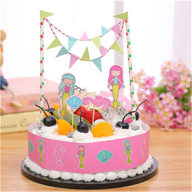 Online Shop 1set Mermaid Cake Flag Birthday Cake Topper Birthday