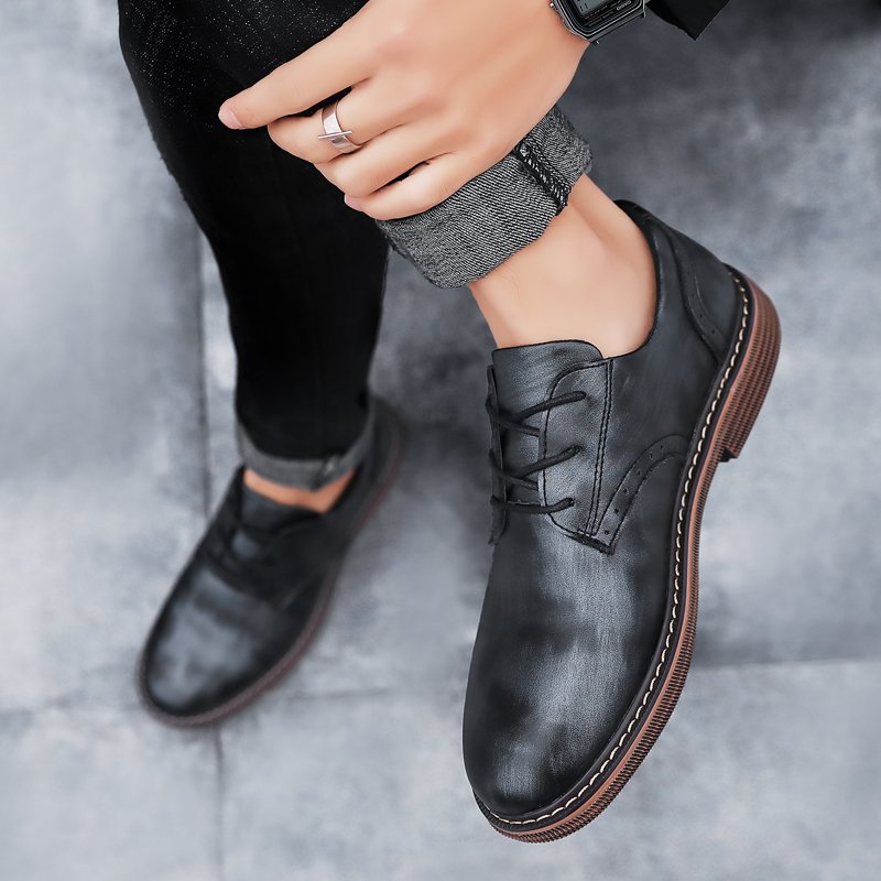 Man shoes genuine leather luxury brand social designer fashion men leather shoes Minimalist Male Casual Shoes Tenis Masculinos 4
