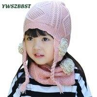 Autumn Winter Baby Girls Hat Scarf Kids Hat for Girls Children Scarf Collar Girls Warm Caps Fashion Flower Girls Hats set