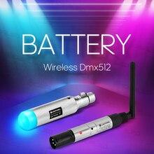 Dmx bateria com efeito de luz, sem fio, 2.4 gi m 500m dmx512, transmissor e receptor de comunicação de distância, música, dj, clube e disco
