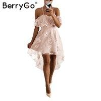 BerryGo Floral Print Mesh Elegant Ruffle Dress Woman Sexy Strap Off Shoulder Female Dress 2017 Irregular