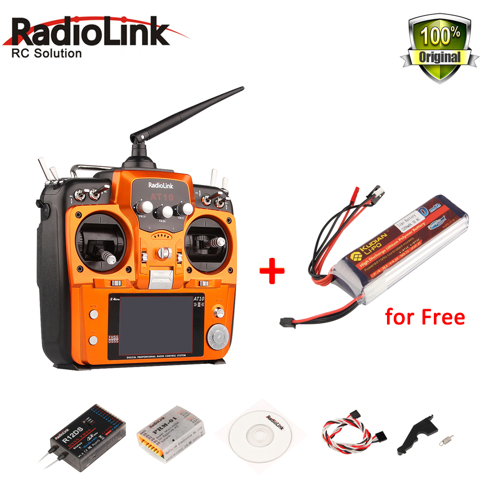 RadioLink AT10 II 2,4 Ghz 12CH Fernsender mit R12DS Empfänger PRM-01 Spannung Rückkehr Modul Batterie RC Getan Quadcopter