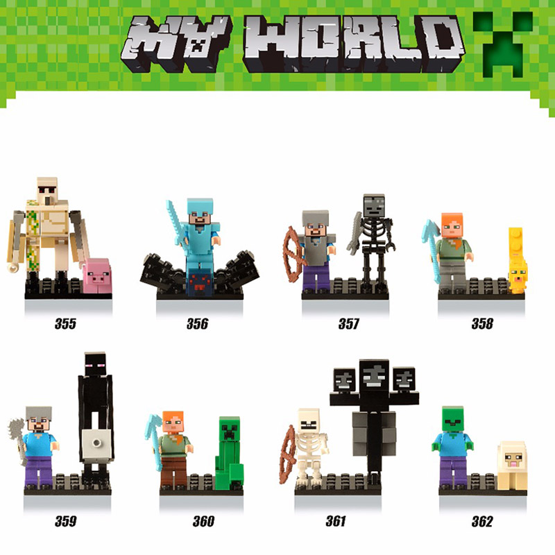 Single Sale DIY Bricks Style mini Zombie Minecrafted Steve figure Building Blocks Toys legoings Compatible city Model Bricks