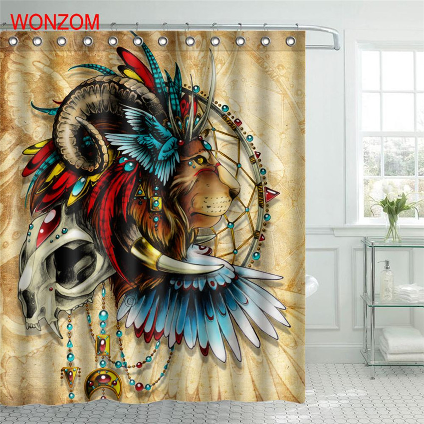 WONZOM Animal Elephant Shower Curtain For Bathroom Decor Modern 3D Lion Bath Waterproof Curtain with 12 Hooks 2018 New Curtain in Shower Curtains from Home Garden