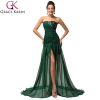 Grace Karin Beaded Chiffon Mermaid Prom Dresses 2015 Slit Ruffles Long Dark Green Evening Dress Gown