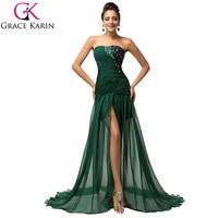 Grace Karin Elegant Long Dark Emerald Green Mermaid Prom Dresses 2017 Beaded Chiffon Slit Ruffles Evening Party Dresses 7570