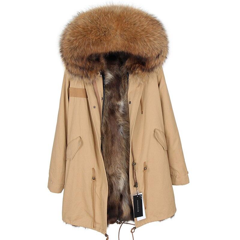 2018 Mode D'hiver Veste Femmes Long Réel Fox Fourrure Manteau Chaud De Fourrure Vestes Raton Laveur Naturel Col De Fourrure Véritable Fourrure Parka m. Top marque