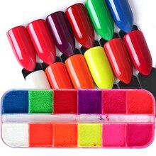 12 renkler/Set floresan Neon Pigment tırnak tozu Glitter tozu degrade 3D Ombre pigmentler manikür Nail Art süslemeleri lastik