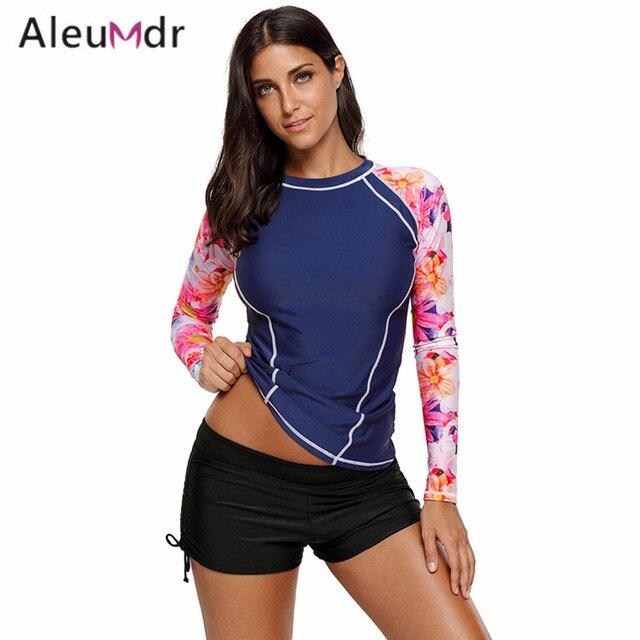 02e61c40b6 Aleumdr Bikini Top For Women 2018 Long Sleeve Patchwork Rashguard Swimwear  Tops One Piece LC410453 Biquini