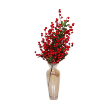HOYVJOY Spring Red Fruit Tree Green Cutting Decoration Artificial Plants Home Table decoration 50cm/60cm