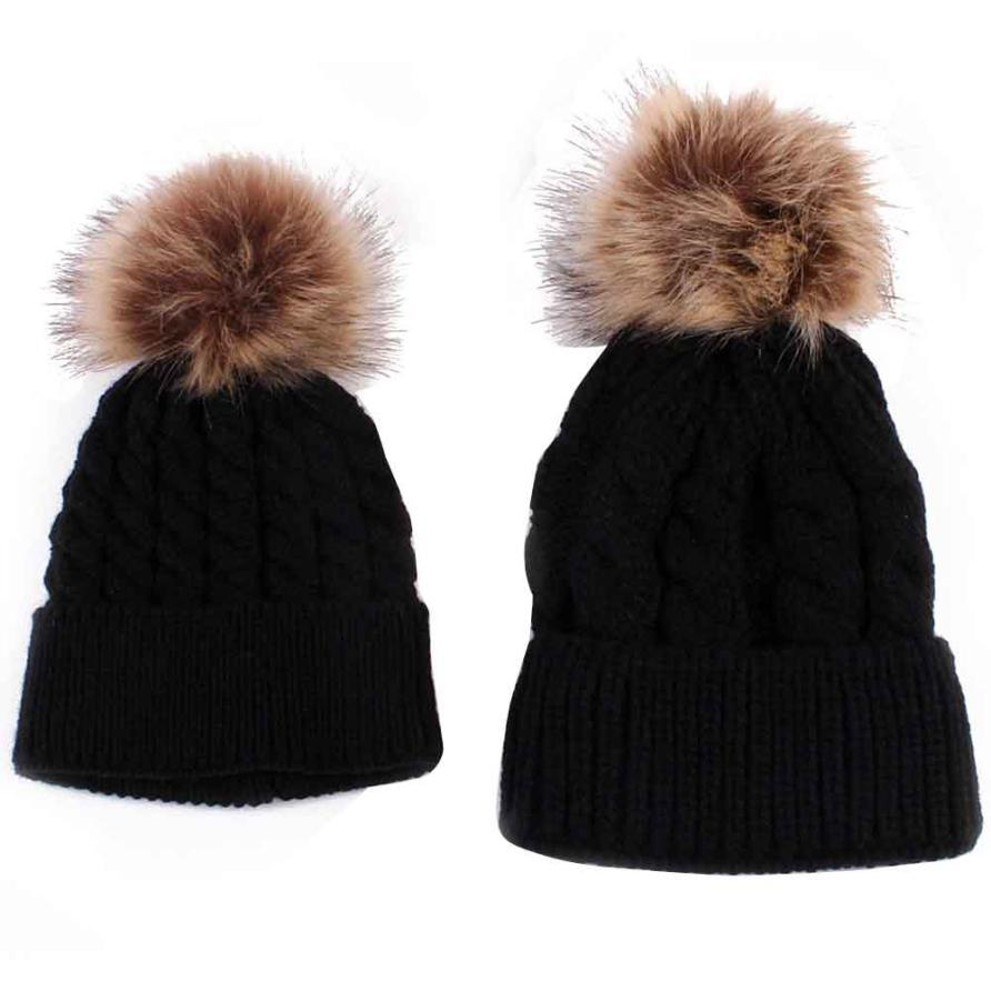 Лидер продаж! 2017 мамы и ребенка Вязание Утепленная одежда шляпа детские шапки зимние вязаные однотонные Детские шапки для мальчиков и девоч...