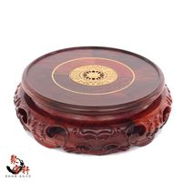 Circular Boxwood Carving Handicraft Redwood Base The Buddha Carved Household Red Acid Branch Furnishing Articles