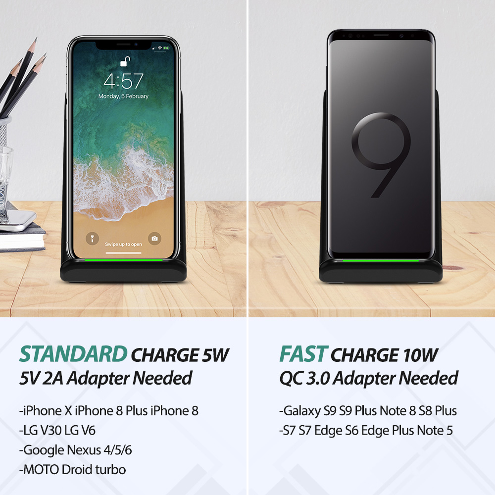 Seneo Cellphone Charging Stand Qi Wireless Charger 5w 10w
