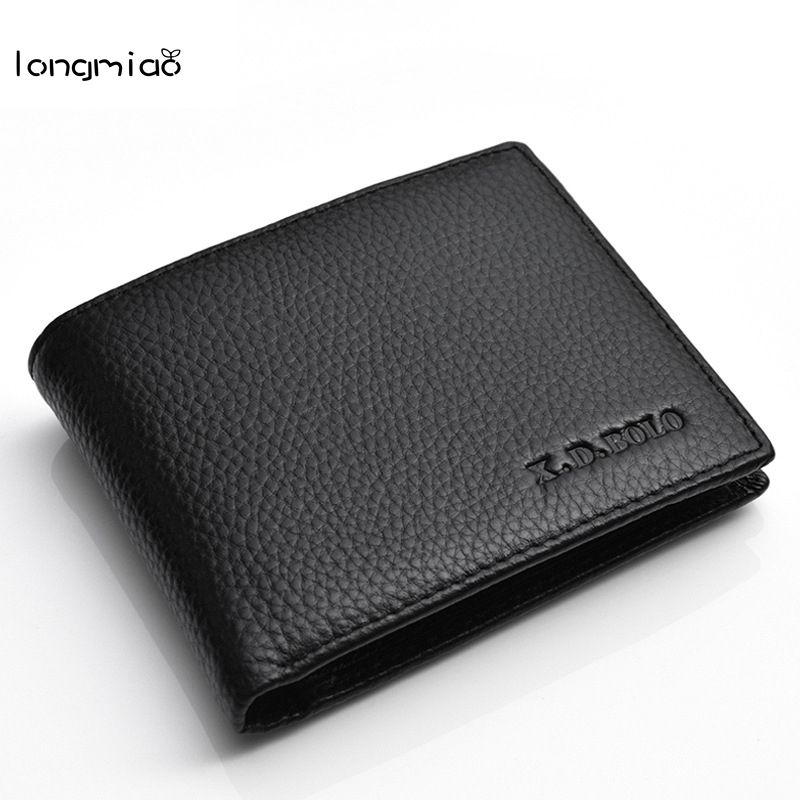 longmiao Top Genuine Leather Wallet Men Short Wallets Business Casual Wallet High Quality Purse Card Small Pocket Money Bag
