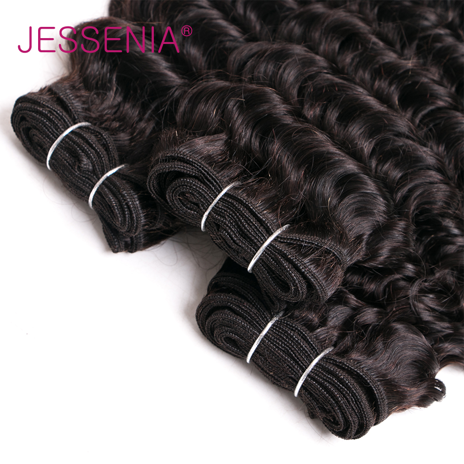 JESSENIA No Shedding No Tangle Deep Wave Hair 3 Bundles With Closure Indian Remy Hair Machine Double Weft Free Shipping
