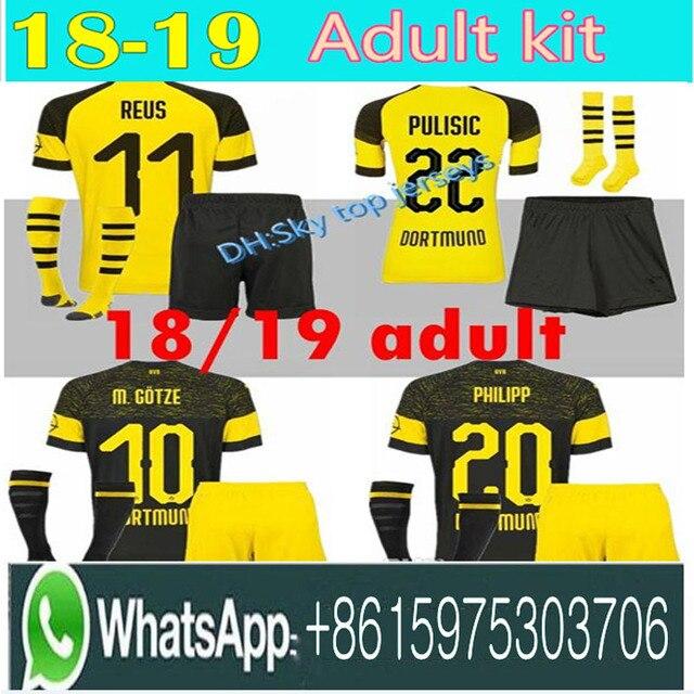 FREE Ship 18 19 men BVB Borussia Dortmund PULISIC soccer jersey kit 2018  2019 WITSEL GOTZE MOR KAGAWA REUS SAHIN adult football 261eeaf10