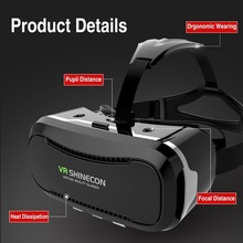 high quality VR Shinecon Glasses II Version VR Box Virtual Reality 3D Glasses with Original Bluetooth Gamepad for 4.3-6.0″ Phone