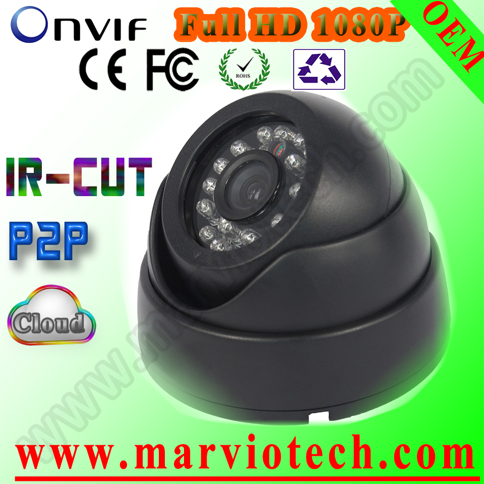 ФОТО security Vandalproof 3.6mm 1080P cctv ip camera H.264 P2P Cloud Indoor IR Day& Night Dome Network camera metal housing