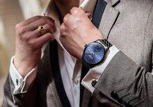 Automatique Auto-Vent Hommes D'affaires Mode Simple Montres Sapphire miroir Noir Inoxydable Bracelet En Acier Cadran Bleu Mécanique Horloge