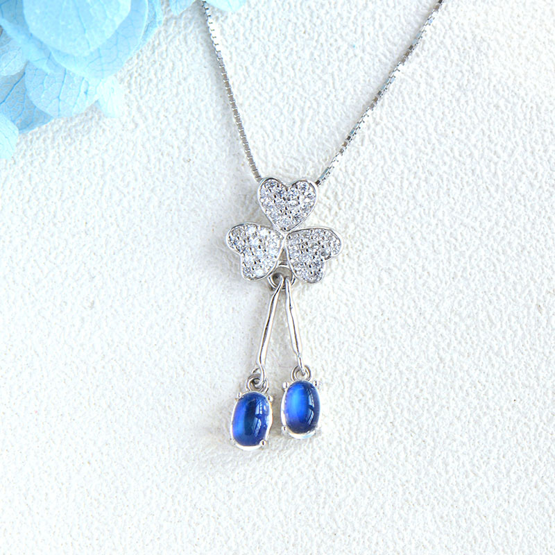 L&P 925 Sterling Silver Sri Lanka Blue MoonStone Pendant Necklace for Women Fine Jewelry Luxurious Gemstone Necklace New DesignL&P 925 Sterling Silver Sri Lanka Blue MoonStone Pendant Necklace for Women Fine Jewelry Luxurious Gemstone Necklace New Design