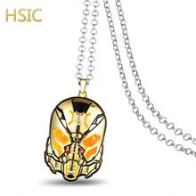 HSIC Dropshipping 3 Colors Movie Ant Man Metal Alloy Necklace Yellow Jacket Mask Charm Pendant Jewelry for Men Women
