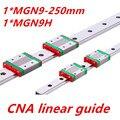 Envío gratis 9 mm guía lineal MGN9 L = 250 mm Linear rail ida MGN9C o MGN9H largo lineal del carro para CNC del eje xyz