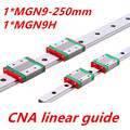 Free shipping 9mm Linear Guide MGN9 L= 250mm linear rail way + MGN9C or MGN9H Long linear carriage for CNC X Y Z Axis