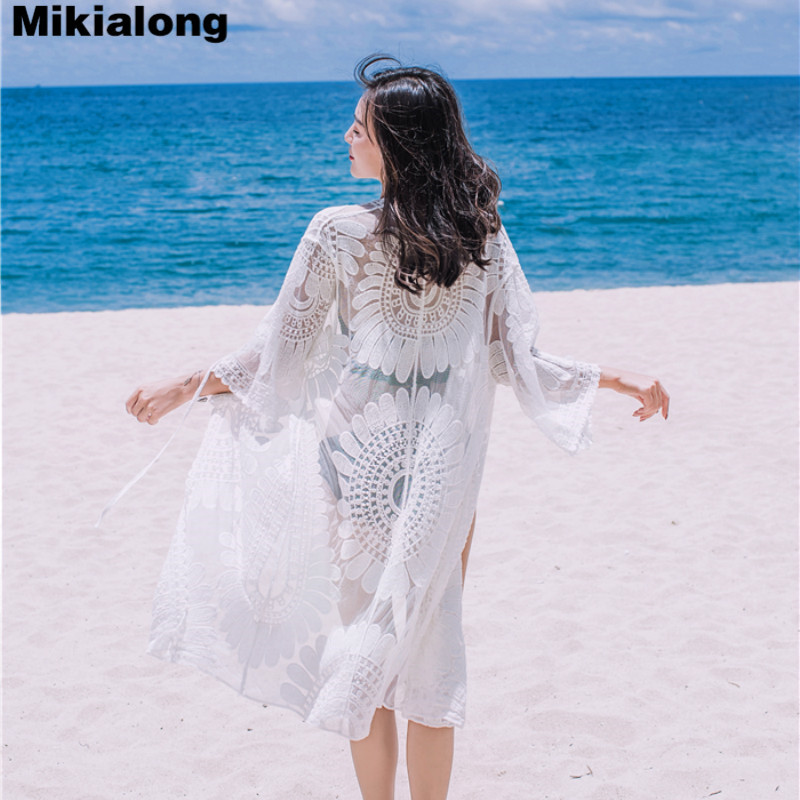 Mikialong Summer Hollow Out Mesh Kimonos Mujer 2018 Vintage Embroidery White Lace Blouse Women Kimono Cardigan Sunscreen Clothes