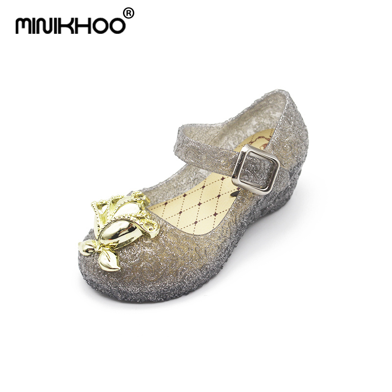 Mini Melissa Rose Flower Girls High-heeled Crystal Jelly Sandals 2018 New Girls Beach Sandals Melissa Jelly Shoes Non-slip