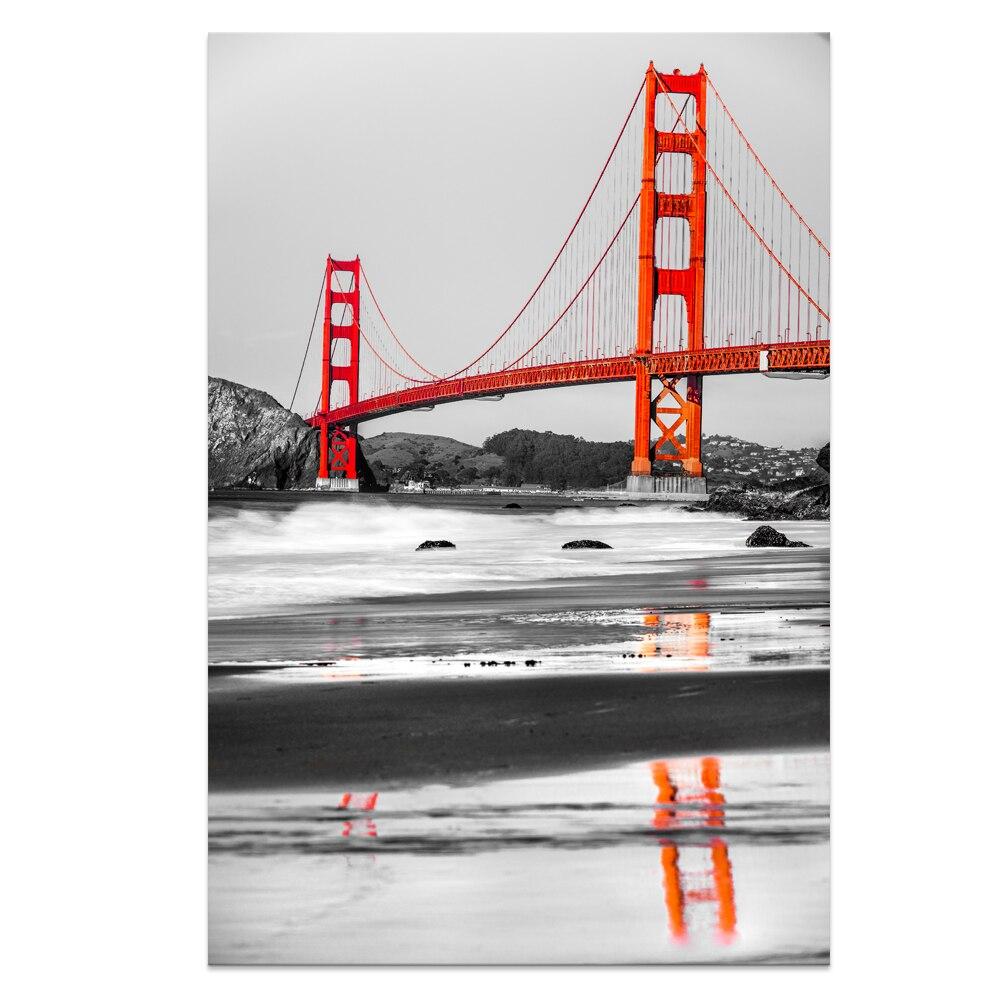 1 Panel Hd Printed Black And White Golden Gate Bridge