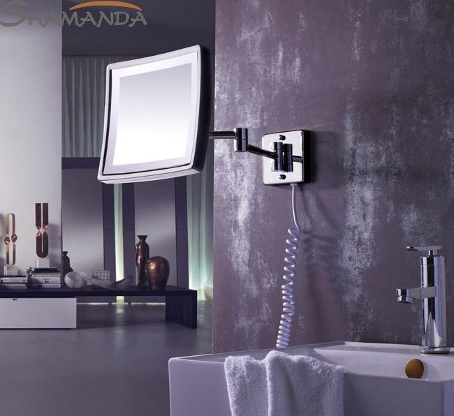Livraison gratuite moderne salle de bains en laiton massif Chrome terminées de mur monté Led miroir de maquillage, Bain de lumière Mirrors-60003