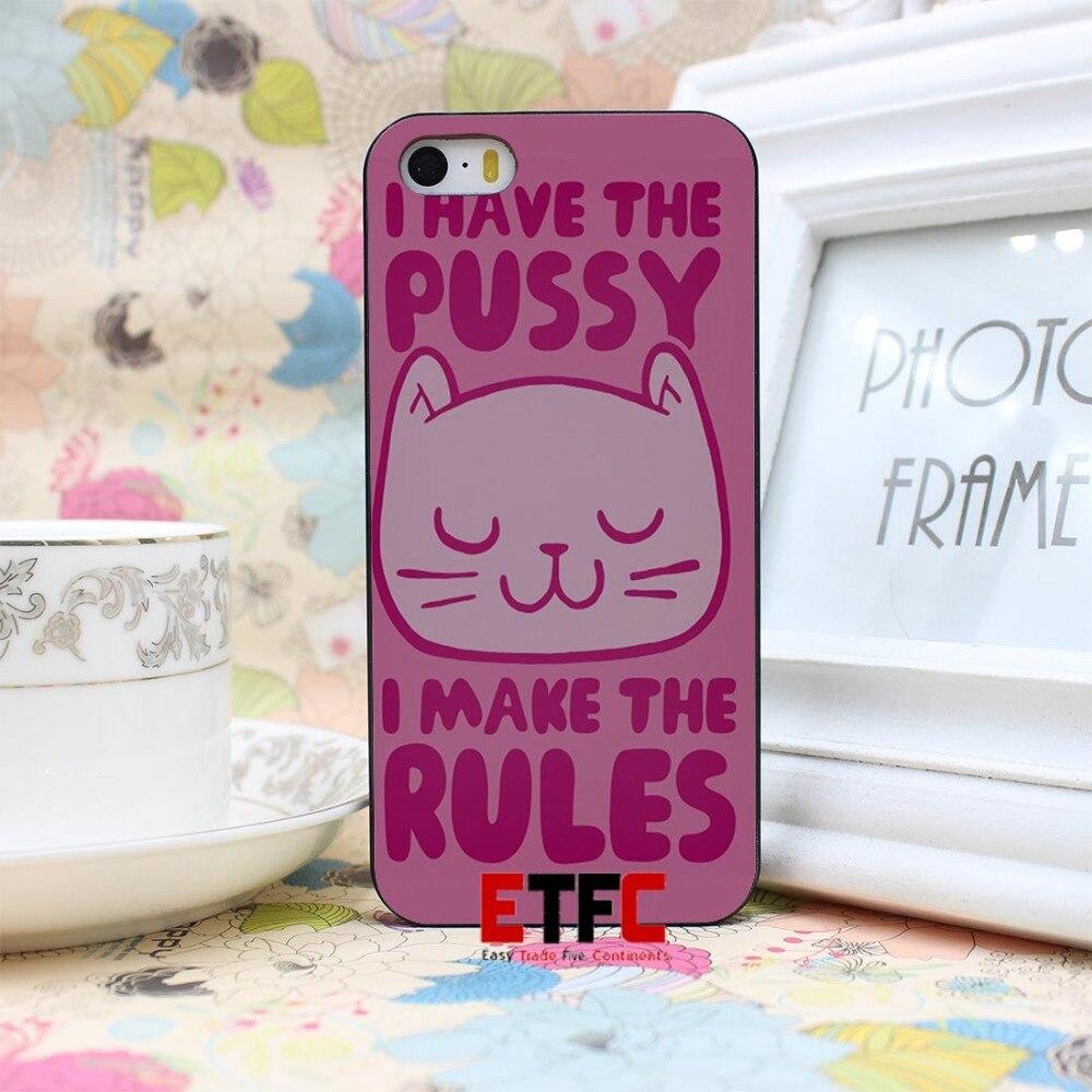 ETFC-344 Pussy Joke Girly Feminist Pink Funny Design Hard Black Skin Case Cover for iPhone 4 4s 4g 5 5s 5g