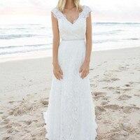 2019 Bohemian Lace Wedding Dress Vintage A line V Neck Beach Boho Wedding Dresses Sexy backless Long Bridal Gowns