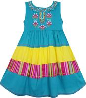 Girls Dress Colour Block Striped Embroidered Flower Blue 18M 5