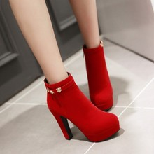2015 Winter New Female Fashion Thick Sexy High Heel Ankle Boots Black Red Women Wedding Shoes