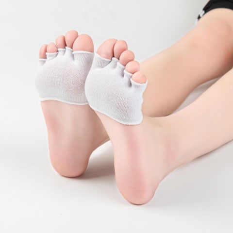 Katoen vijf vingers sokken vrouwelijke super ondiep mond onzichtbare half palm vrouwen set zomer korte boot yoga hoge hak teen sokken