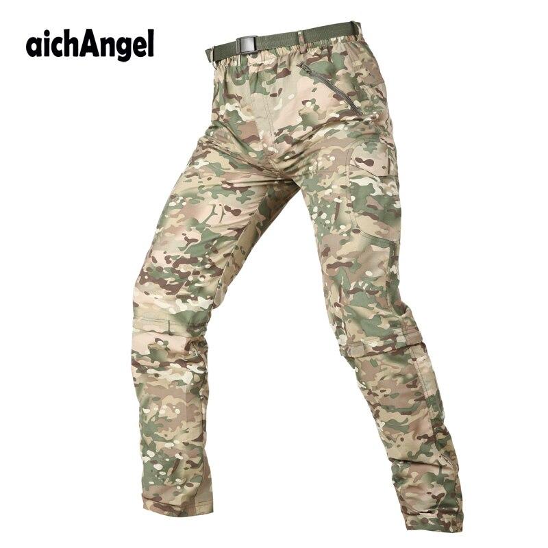 AichAngeI Men Quick Dry Pants Tactical Removable Detachable Trousers Male Summer Breathable Quick Dry Pants