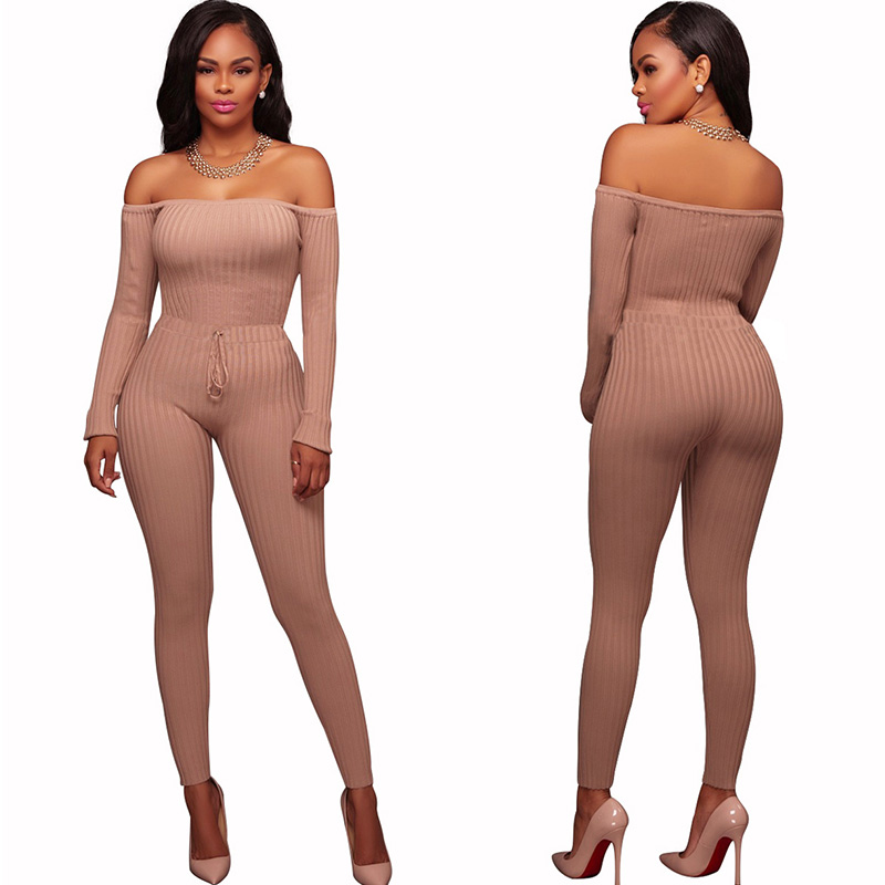 2017 New Women Elegant Winter   Jumpsuits   Knitted Ribbed Long Sleeve Off Shoulder Casual Rompers Sexy Club Wear Bodycon   Jumpsuit