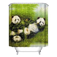 New Decor Collection Row Of Hungry Dogs Cat Dog Wolf Panda Art Polyester Fabric Bathroom Shower