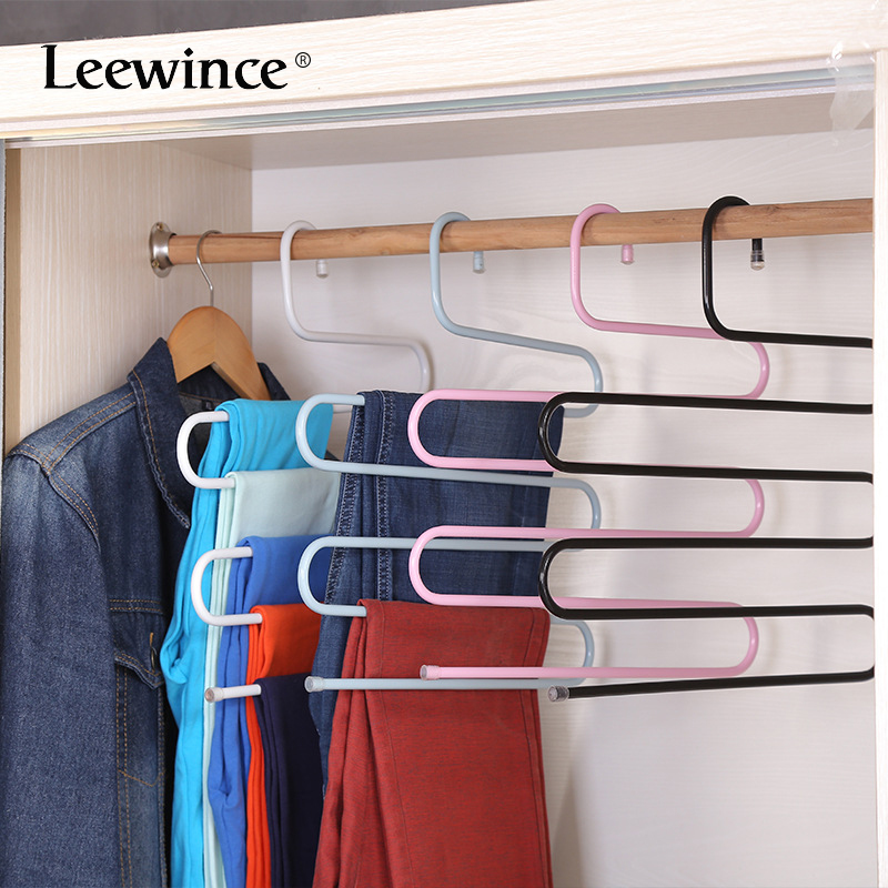 Leewince S Type Multi Purpose Stainless Magic Pants Hangers Closet Space Saver Storage Rack For Hanging Jeans Scarf In Racks From Home