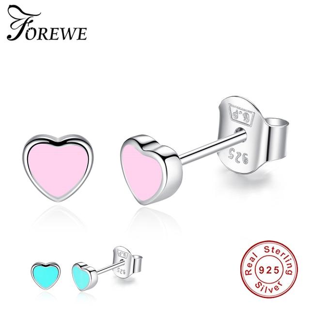 3a5da85d0 925 Sterling Silver Cute Small Pink and Blue Enamel Heart Stud Earrings For  Women Girls Children Baby Kids Fine Jewelry