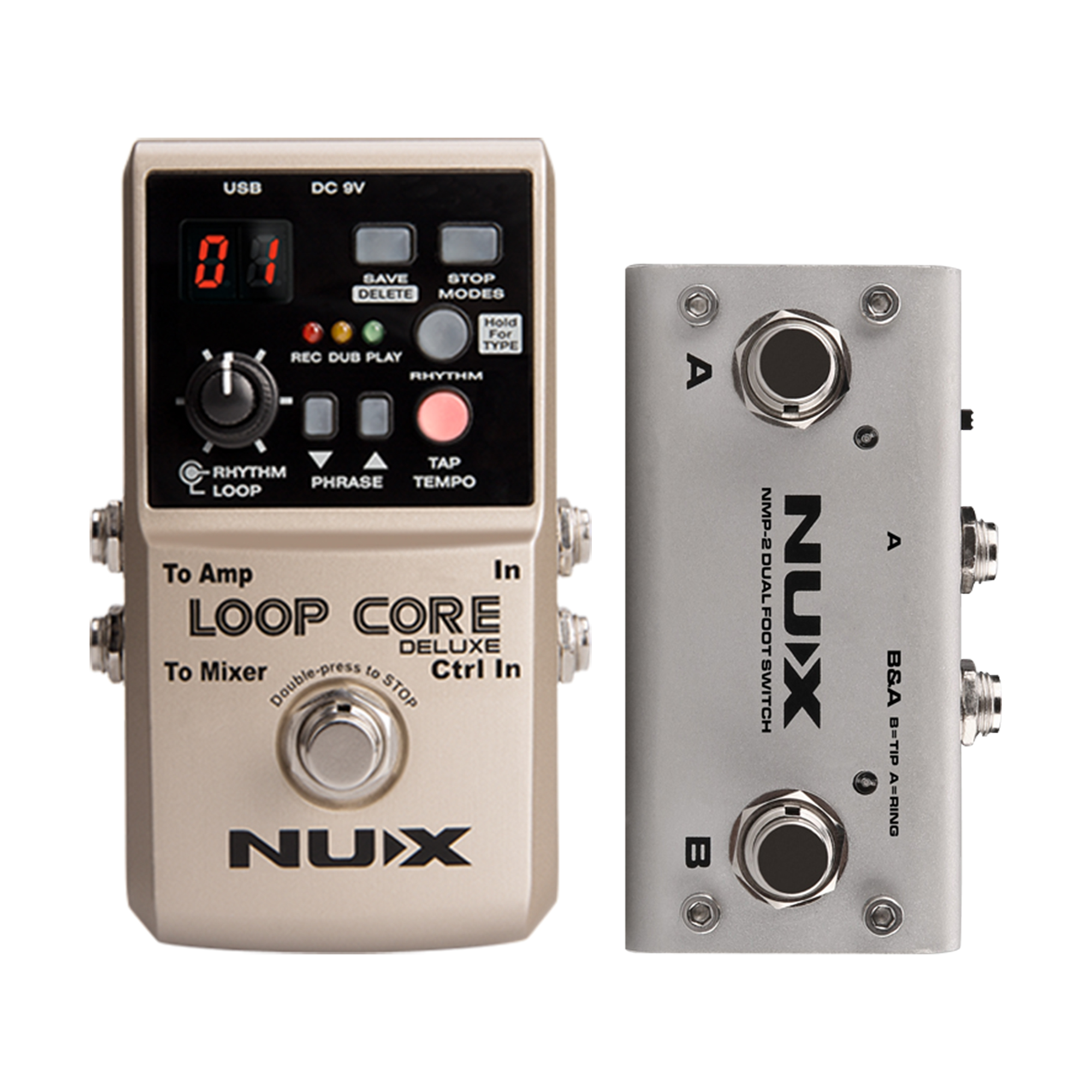 NUX Loop Core Deluxe Looper Pedal 40 different drum rhythms 8 Hours Record Loop Guitar Effect Stompbox with Dual FootSwitch nux time core deluxe delay pedal different types of delays to the upmost ambience