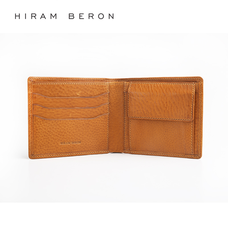 Hiram Beron Mens Leather Wallet Large Capacity Custom RFID Wallet Money Card Holder RFID Blocking Genuine