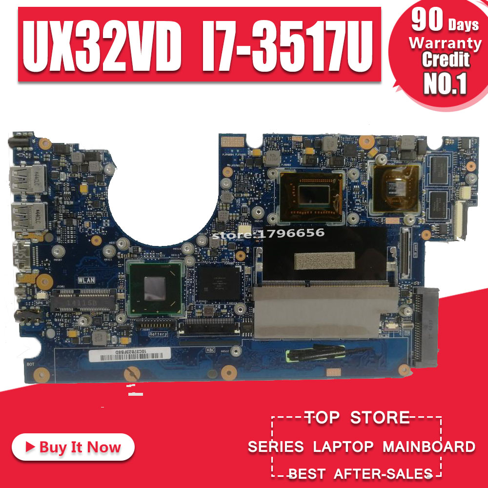 Laptop Motherboard UX32VD SSD Core I7-3517 CPU with 60-NP0MB1N00-A11 UX32VD Mainboard 100% Tested OK