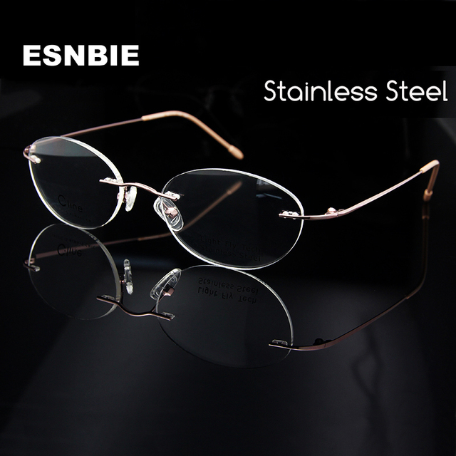 2df014e1689 ESNBIE Wholesale (10pcs lot) Womens Eyeglasses Rimless Frame Pink Eyeglass  Frame Oval Shape