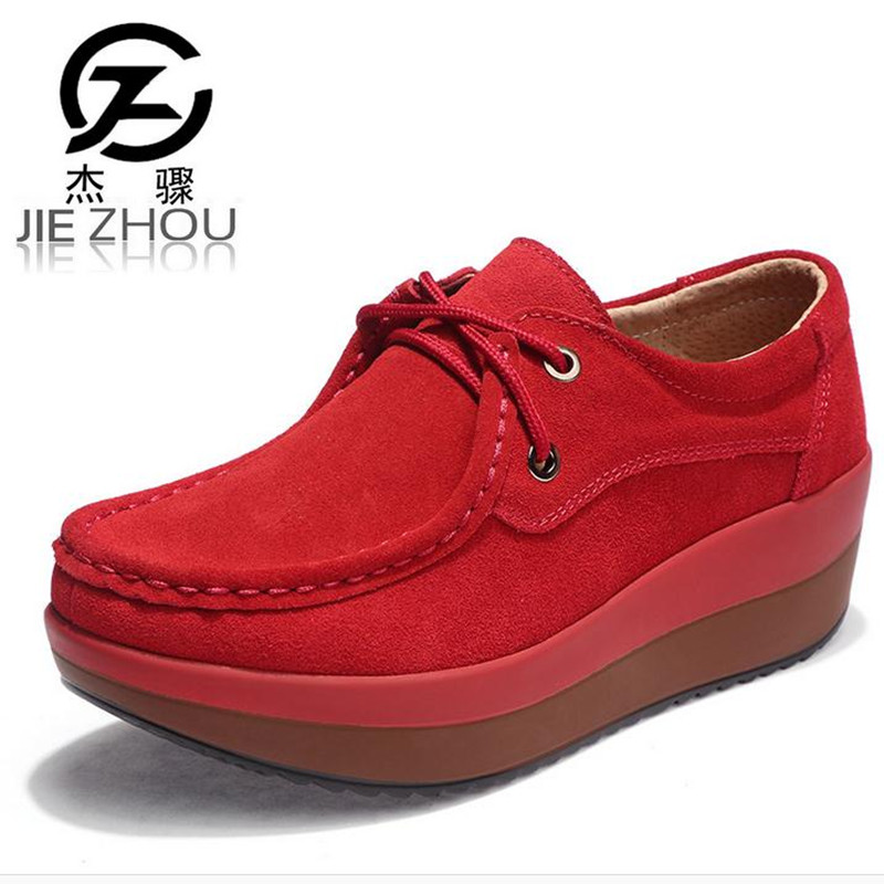 spring autumn Frosted leather thick bottom Genuine Leather Platform shoes Increased height style casual Women Shoes zapatos e toy word canvas shoes women han edition 2017 spring cowboy increased thick soles casual shoes female side zip jeans blue 35 40