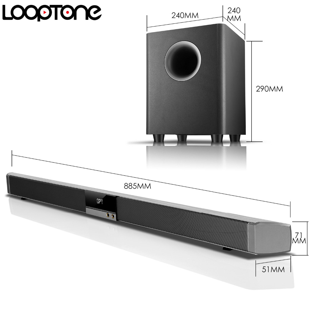 Looptone 2 1 Soundbar System W 6 5 Wireless Hifi Subwoofer Professional Amplifier For Home Theater Bluetooth Aux Coa Opt Hdmi In From Consumer