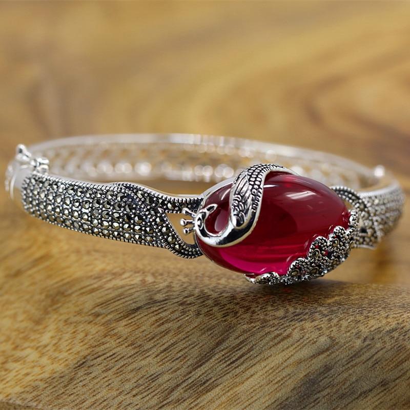 2018 New Armbanden Voor Vrouwen Product S925 Pure Ethnic Jewelry Wholesale Only Beautiful Lady Wind Corundum Peacock Bracelet